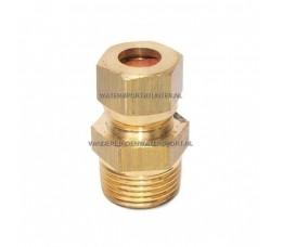 Koppeling Recht 1/4 Buitendraad x 8 mm Gas Messing
