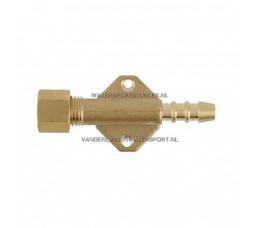 Koppeling 8 mm x Slangpilaar Voetplaat Gas Messing