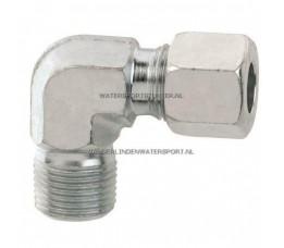Koppeling Haaks 3/8 Buitendraad x 8 mm Gas Staal