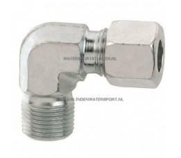 Koppeling Haaks 1/2 Buitendraad x 8 mm Gas Staal