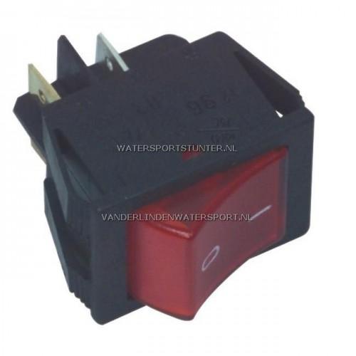 Wipschakelaar 12 Volt Vierkant Rood