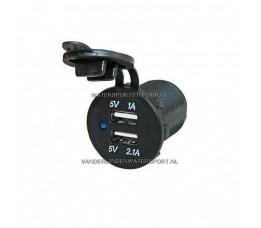 PL USB Lader Inbouw 12 / 24 Volt 2-Voudig 2,1 Ah