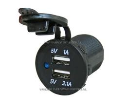 PL USB Lader Inbouw 12 / 24 Volt 2-Voudig 3,1 Ah