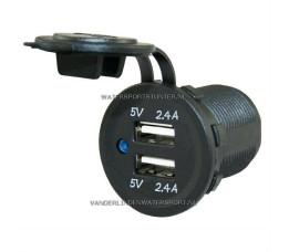 PL USB Lader Inbouw 12 / 24 Volt 2-Voudig 4,8 Ah