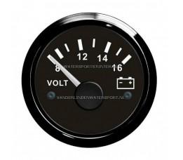 Voltmeter Analoog 8 / 16 Volt Zwart